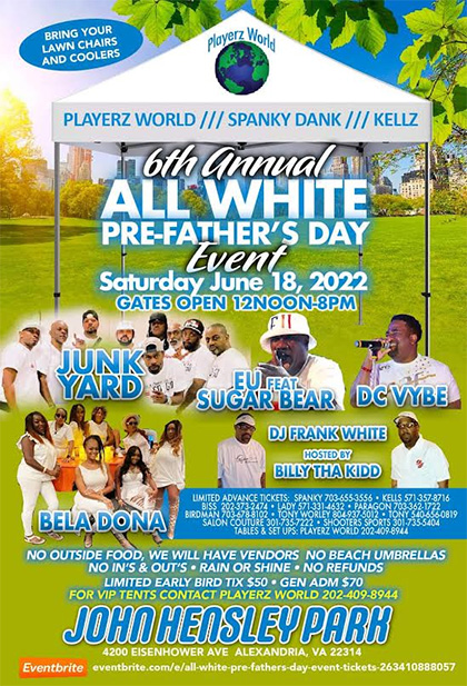 All White Pre-Fathers Day Party Joseph Hensley Park flyer